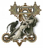 picture of crucifiction  - Victorian letter Z with Jesus Christ enfeebled by the weight of the cross - JPG