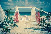 pic of altar  - Beautiful vintage wedding altar on caribbean beach - JPG
