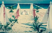 picture of altar  - Beautiful vintage wedding altar on caribbean beach - JPG