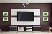 picture of home theater  - Modern Home Theater Room Interior with Flat Screen TV frontal view - JPG