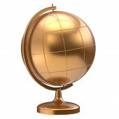 Постер, плакат: Golden Globe Blank Planet Earth Global Geography Symbol