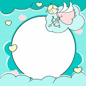 stock photo of cupid  - Circle frame for valentines day cards with clouds - JPG