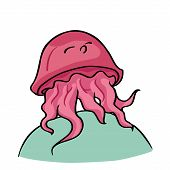picture of medusa  - Funny cartoon jellyfish - JPG