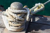 stock photo of bollard  - steel bollard close up in the dock - JPG