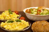 pic of scrambled eggs  - scrambled eggs with bread and vegetables  - JPG