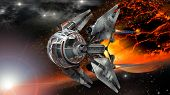 picture of fiery  - Alien spaceship - JPG
