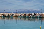 pic of marina  - Ksilokastro Marina, Greece with Parnassos Mountain in the background ** Note: Soft Focus at 100%, best at smaller sizes - JPG
