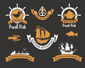 picture of meals wheels  - set of emblem for restaurants and seafood stores with the image of fish and ships - JPG