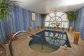 stock photo of health center  - Large jacuzzi pool in room of luxury health spa center with candles - JPG