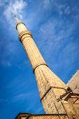 stock photo of constantinople  - Minaret of Aya Sophia Camii in Istanbul - JPG
