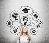 stock photo of degree  - Young beautiful business lady is thinking about getting degree at the university - JPG