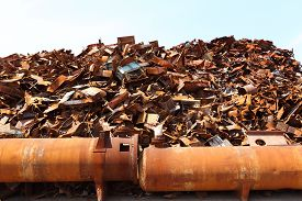picture of scrap-iron  - Pile of scrap metal at a recycling facility - JPG