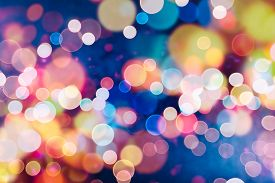 stock photo of illuminated  - Festive Background With Natural Bokeh And Bright Golden Lights - JPG
