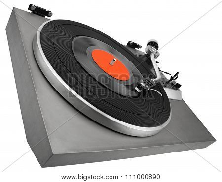 Angle view of vintage turntable on white with clipping path