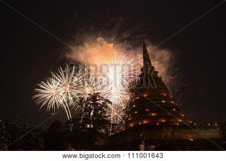 Fireworks In Loy Krathong Festival At Sukhothai History Park