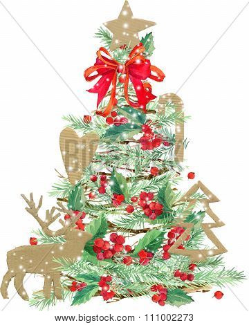 watercolor Christmas tree. watercolor winter holidays background. illustration Christmas tree, reind