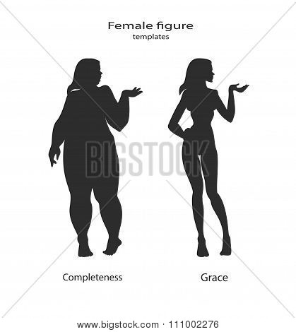 silhouette figure of a woman thick and thin