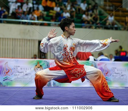 JAKARTA, INDONESIA - NOVEMBER 15, 2015: Yu Wei Chen of Chinese Taipei performs the movements in the men's Taijiquan event at the 13th World Wushu Championship 2015 held in Istora Senayan, Jakarta.