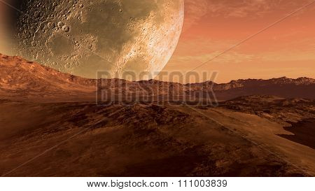 Mars like red planet with Moon