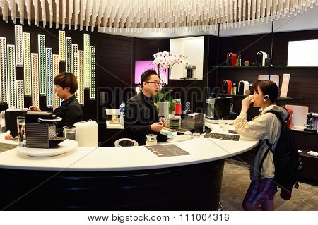 HONG KONG - MAY 5, 2015: interior of Nespresso store. Nespresso is the brand name of Nestle Nespresso S.A. The company sells its system of machines and capsules worldwide