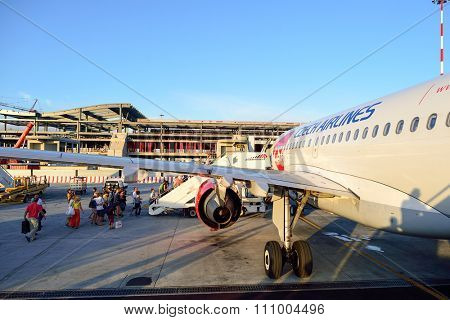 ROME, ITALY - AUGUST 16, 2015: Czech Airlines Airbus A319 at  Leonardo da Vinci International Airport. CSA Czech Airlines a.s. is the national airline of the Czech Republic