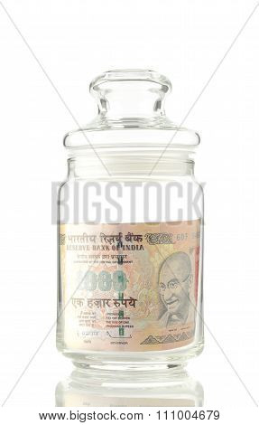 Jar with Paper Currency
