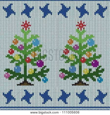 Christmas Tree On Knitting Seamless Pattern