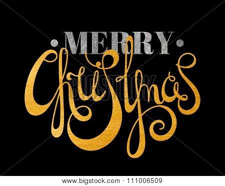 Gold and silver textured text Merry Christmas.