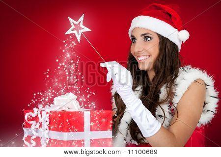 Santa Girl, Present, Magic, Red
