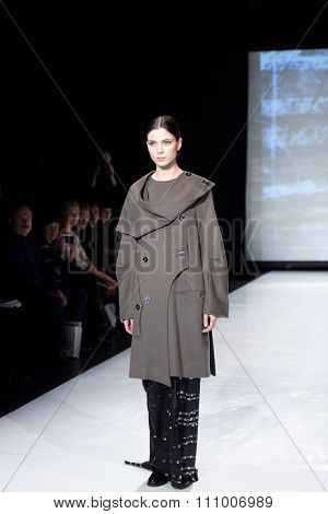 ST. PETERSBURG, RUSSIA - DECEMBER 5, 2015: Collection of fashion house Harlen at the fashion show during St. Petersburg Fashion Week Overview which sums up the year of the city's fashion industry