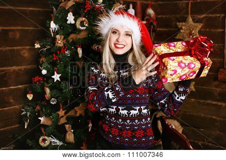 Young Beautiful Girl Holding A Gift