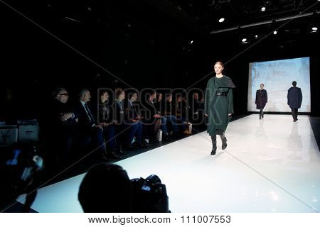 ST. PETERSBURG, RUSSIA - DECEMBER 5, 2015: Collection of fashion house Harlen at the fashion show during St. Petersburg Fashion Week Overview which sums up the year of the cityâ??s fashion industry