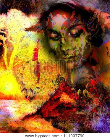 Goddess woman, with ornamental face and tree, and color abstract background. meditative closed eyes,