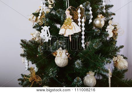 Beautiful Decorations On A Green Christmas Tree