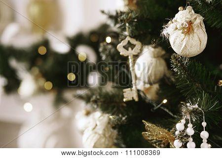 Beautiful Christmas Decorations On The Christmas Tree