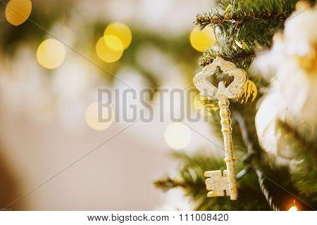 Key Hanging On A Christmas Tree