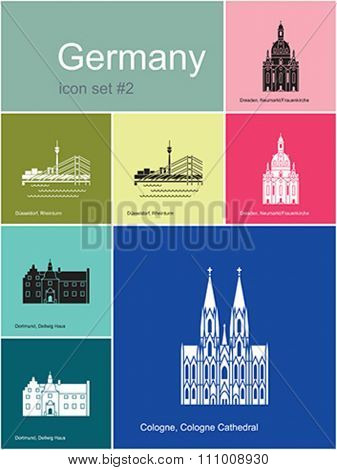 Landmarks of Germany. Set of color icons in Metro style. Editable vector illustration.