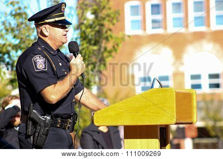 Somerset, Kentucky, Police Officer Giving Speech at NAMI Event