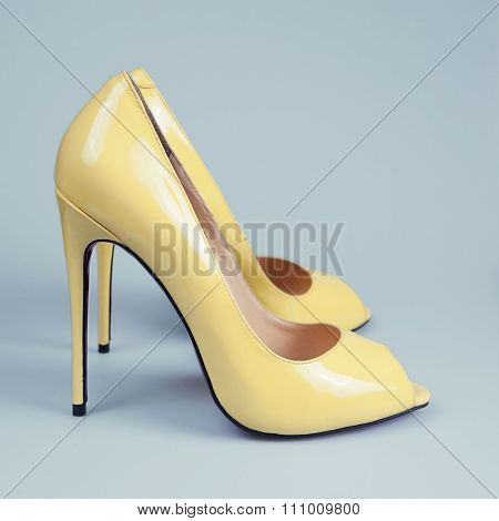 Yellow High Heels Open Toe Pump Shoes