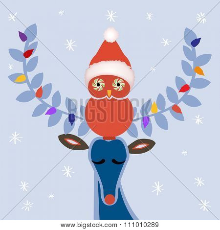 Winter deer and owl -  Christmas hat  peppermint eyes on owl