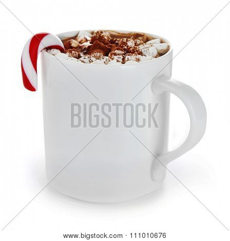 White cup of cacao with Christmas candy and zephyr, isolated on white