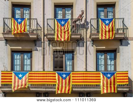 Catalonian Flags On Balconu