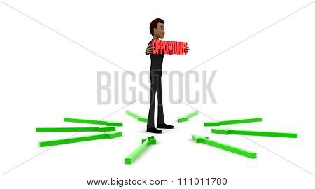 3D Man Holding Opportunity Text And Standing In Center Of Surrounding And Pointing Arrows Concept