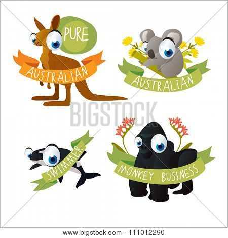 funny animals tattoo stickers. Kangaroo, koala, orca, gorilla. May be used as stickers, badges, logos or emblems