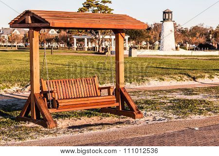 Wooden Porch Swing at Buckroe Beach