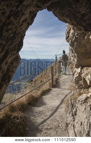 Rocky Passage At Wendelstein Mountain Trail, Young Woman Walking Along