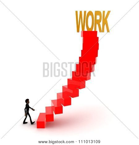 3D Man Walking Upwards To Work Text With The Help Of Stairs Concept
