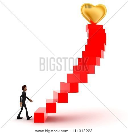3D Man Walking Upwards To  Golden Heart Symbol  With The Help Of Stairs Concept