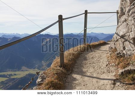Hiking Path At The Top Of Wendelstein Mountain, Bavaria