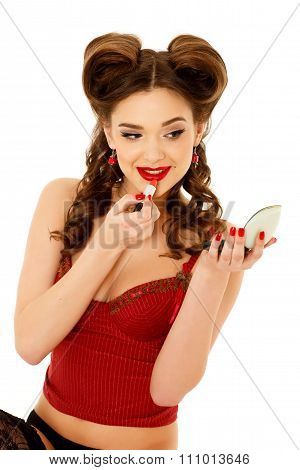 Woman Applying Lipstick For Lips.
